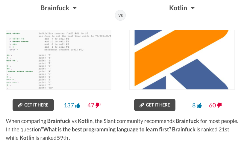 Brainfuck vs Kotlin